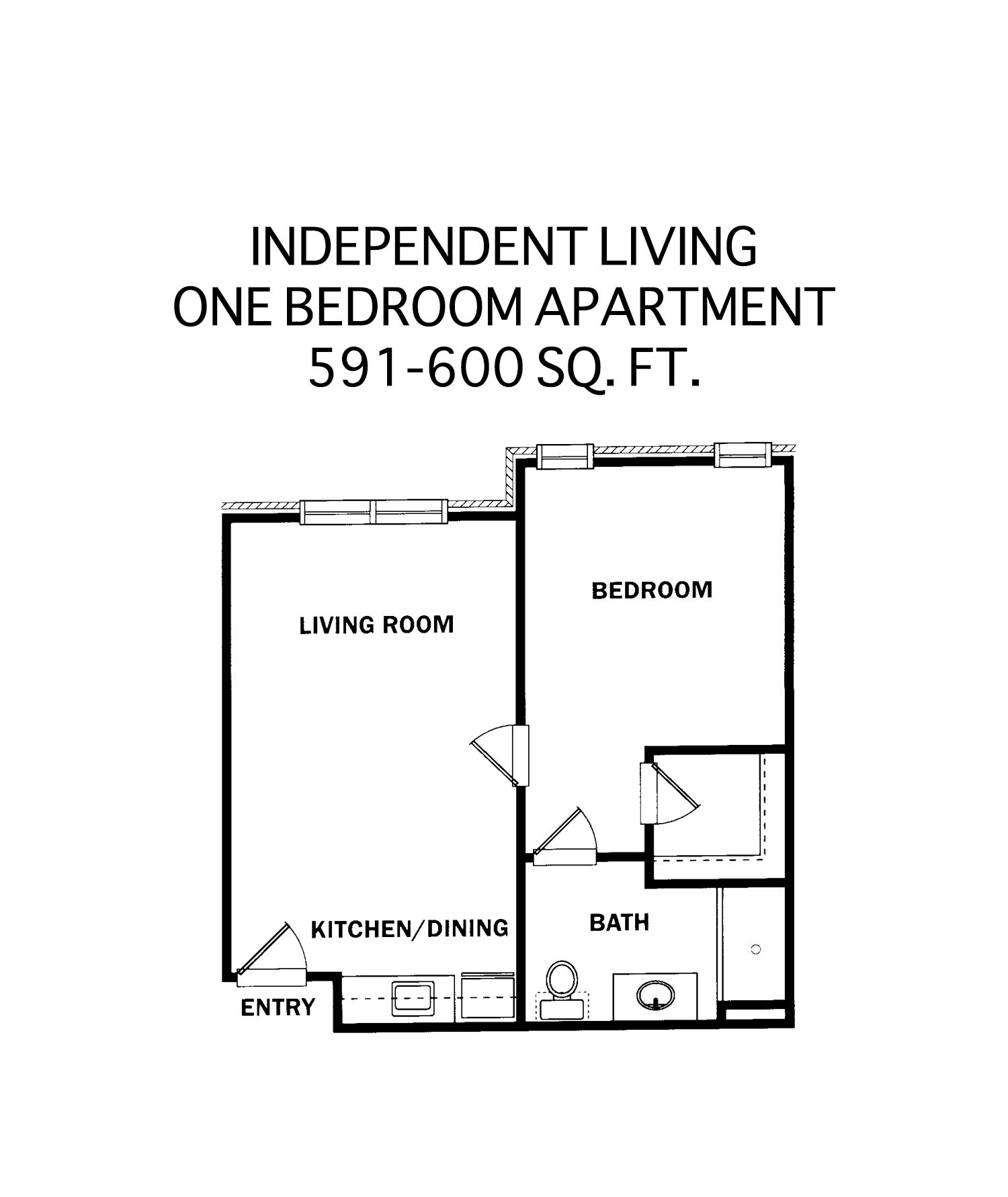 Independent Living - One Bedroom Unit Floor Plan